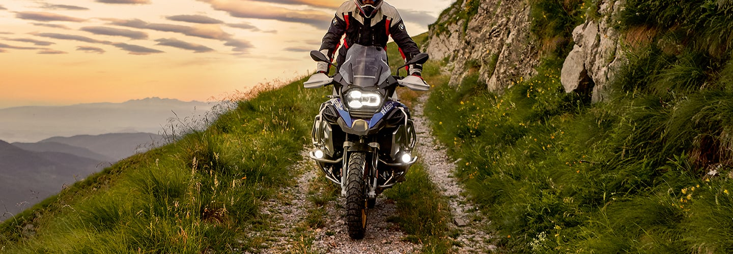 View of the 2020 BMW R 1250 GS on top of a mountain