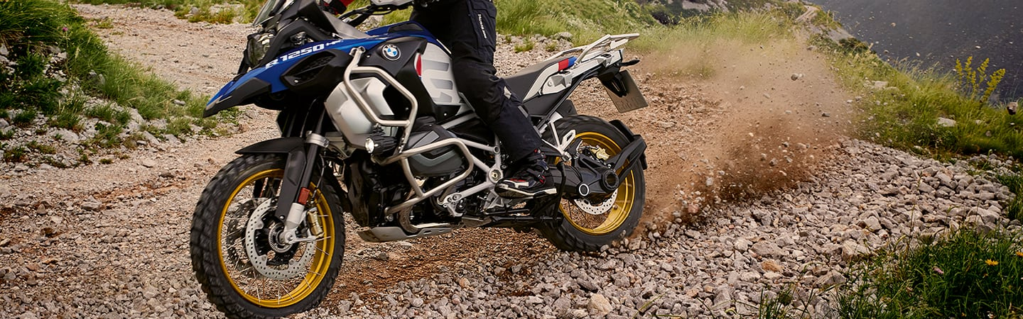 Front view of the 2020 BMW GS Adventure turning on dirt