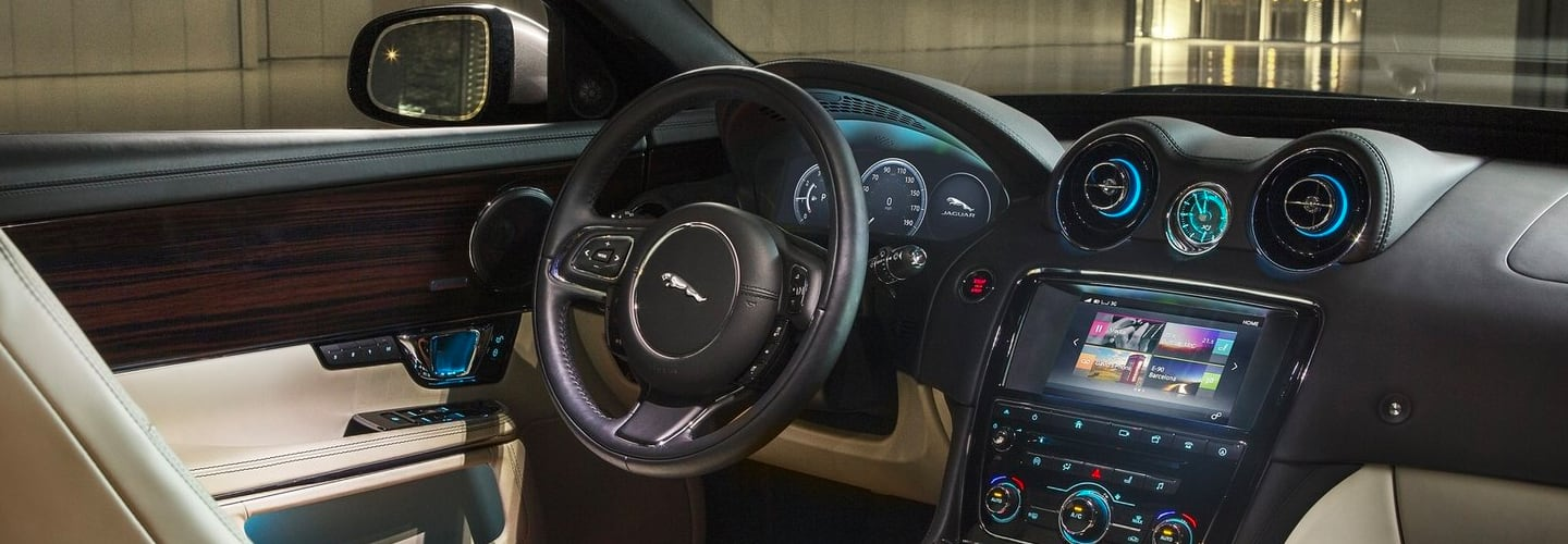 Drivers side seat and steering wheel of the 2019 Jaguar XJ