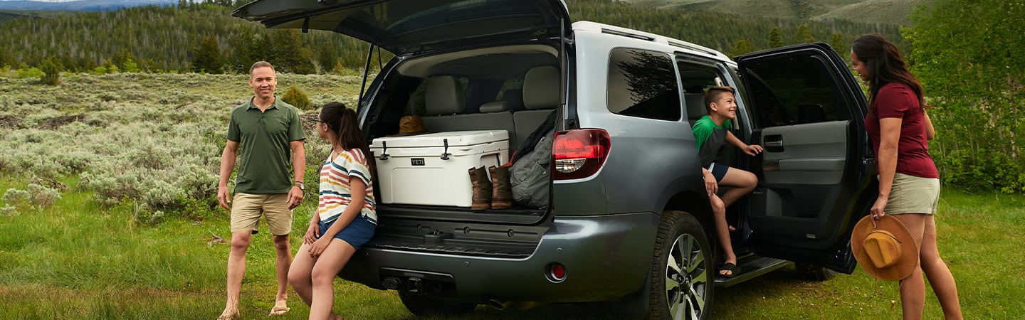 2020 Toyota Sequoia parked with the trunk open