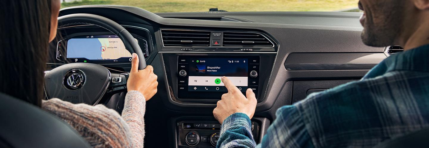 Interior of the 2020 Volkswagen Tiguan with passengers in the vehicle