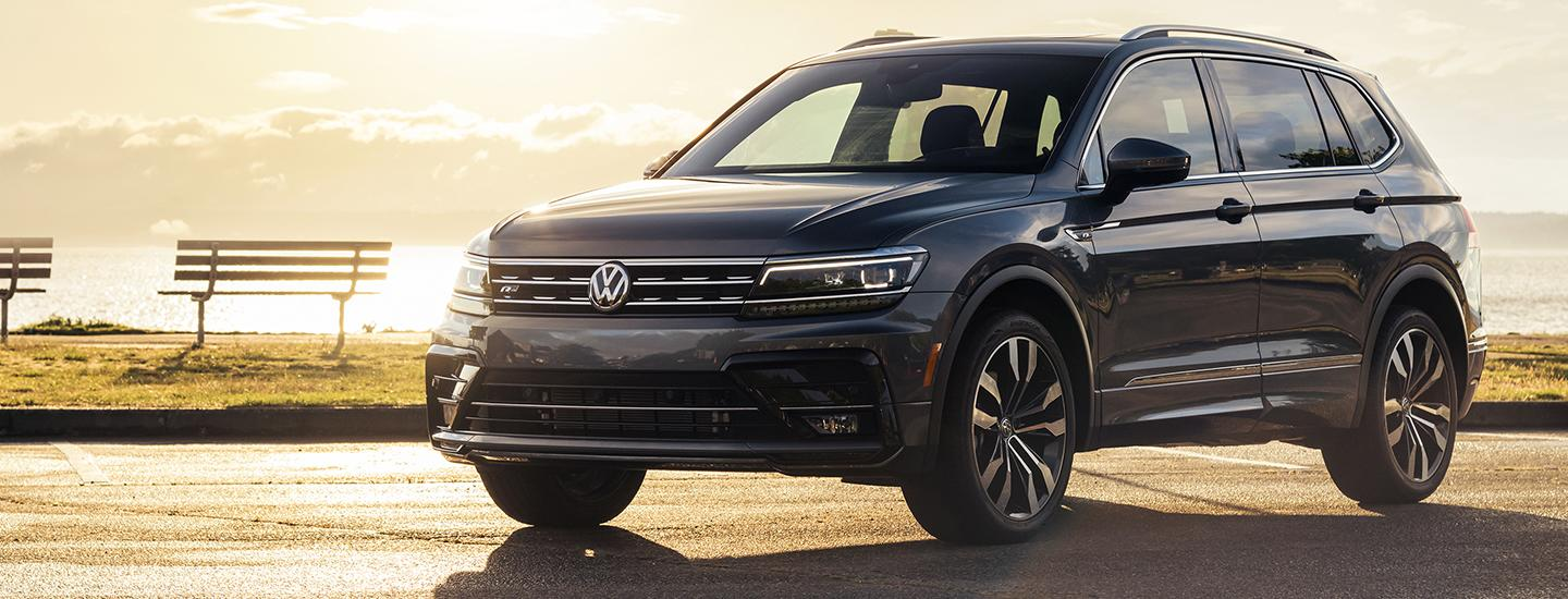 Side view of the front of the 2020 Volkswagen Tiguan for sale in Gainesville, FL