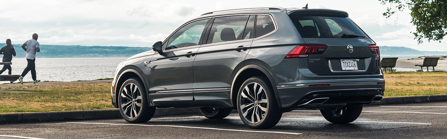 Rear view of the 2020 Volkswagen Tiguan parked at the beach