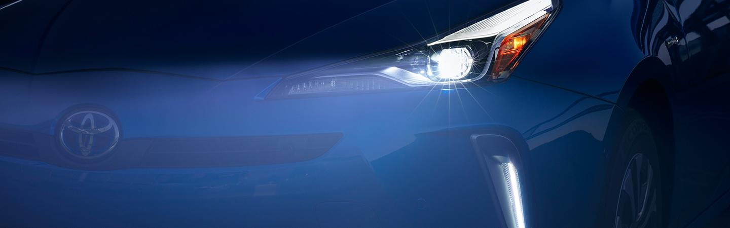 2020 Toyota Prius with the headlight on
