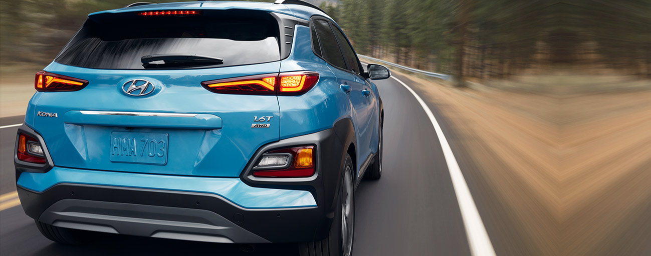 2019 Hyundai Kona rear view in motion.