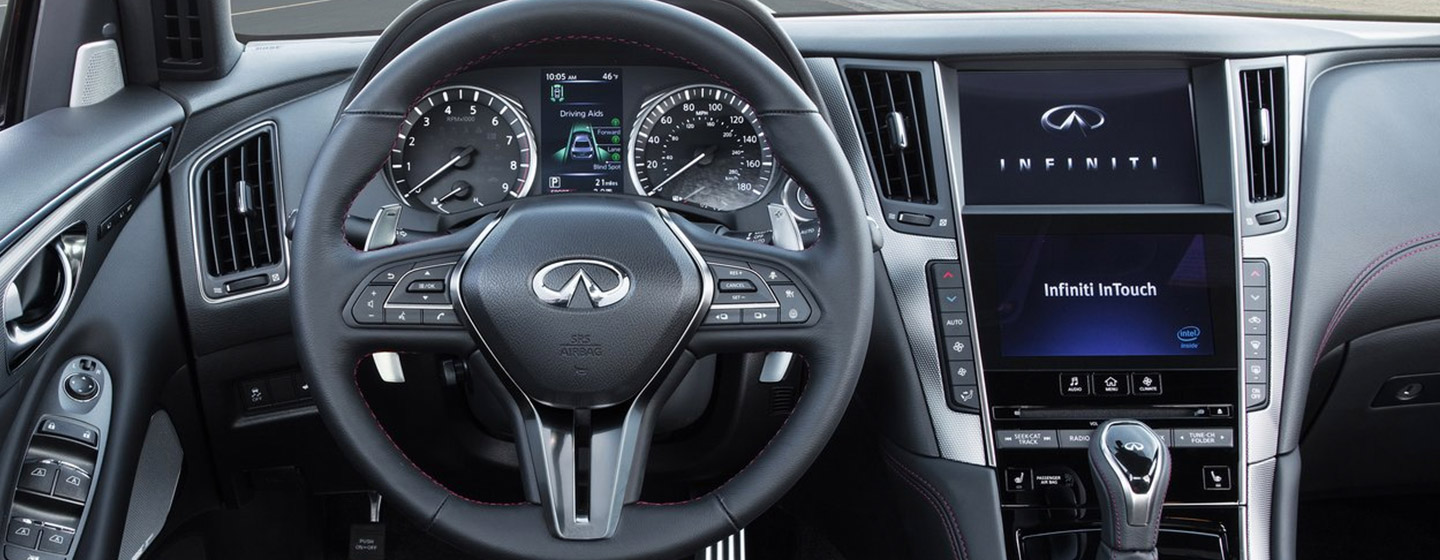 Safety features and interior of the 2019 INFINITI Q50 - available at our INFINITI dealership near Miami, FL.