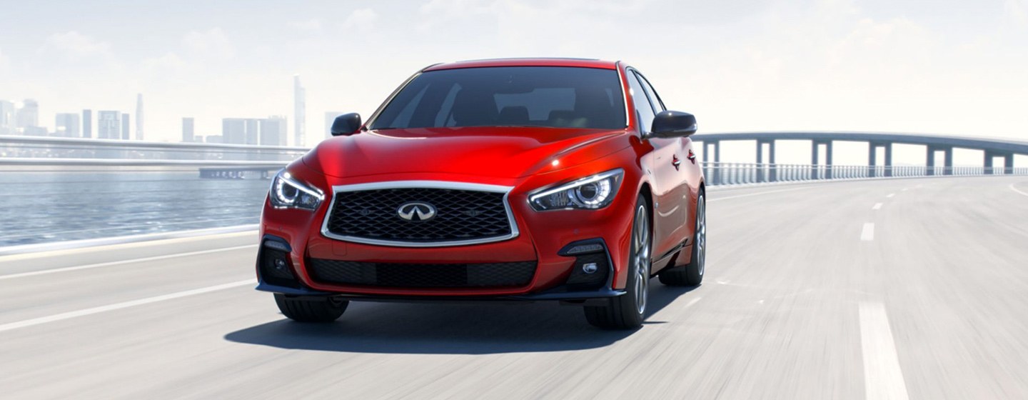 2019 INFINITI Q50 Exterior - Front End - Driving on the road.