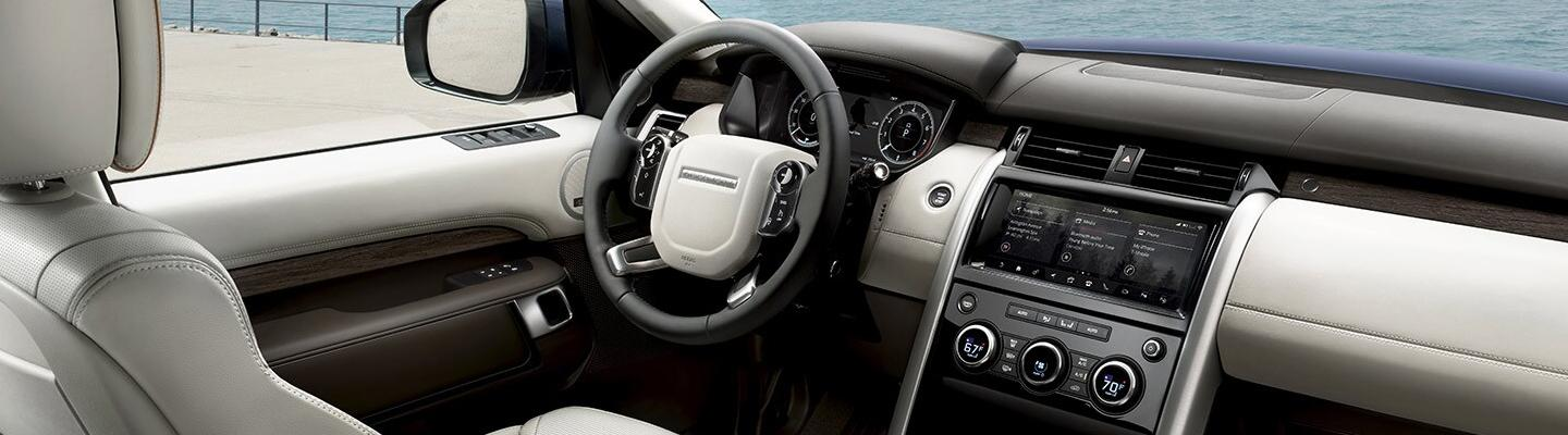 Drivers side seat and steering wheel of the 2020 Land Rover Discovery