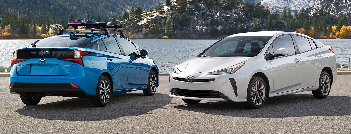 Two 2020 Toyota Prius vehicles parked next to each other