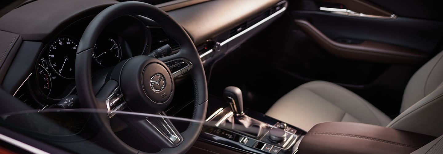 Drivers side seat and steering wheel of the 2020 Mazda CX-30