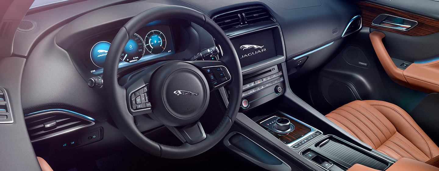 Safety features and interior of the 2019 Jaguar F-PACE - available at our Jaguar dealership near Ocala, FL.