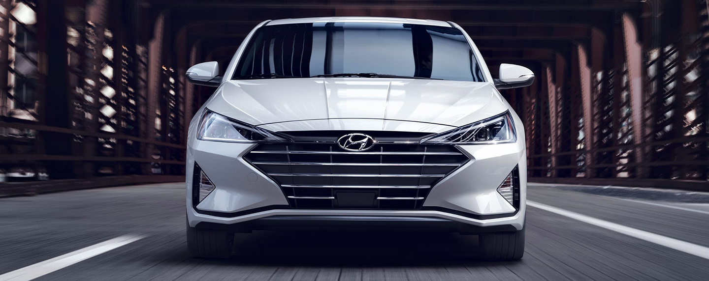 2019 Hyundai Elantra front view in motion.