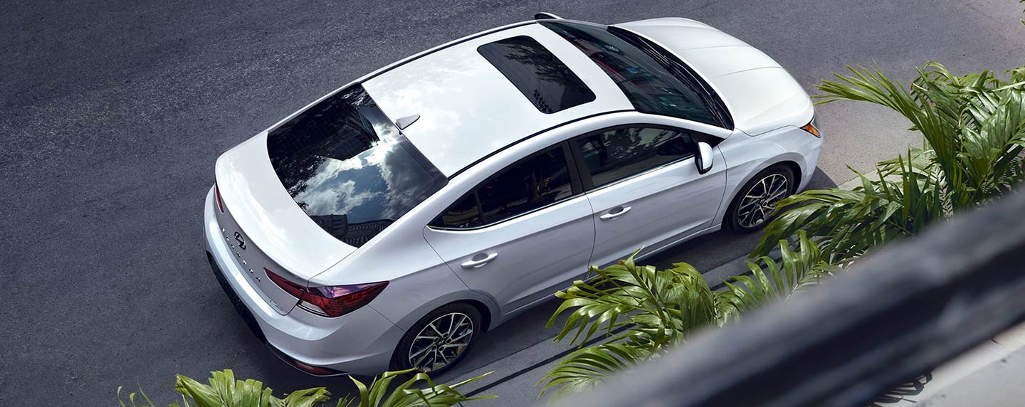 2019 Hyundai Elantra top view showing moonroof.