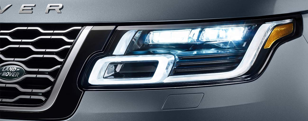 2019 Range Rover front headlight view.