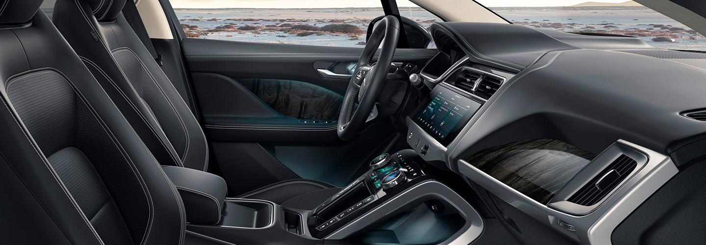 Side view of the passenger and drivers side seat and steering wheel of the 2020 Jaguar I-Pace