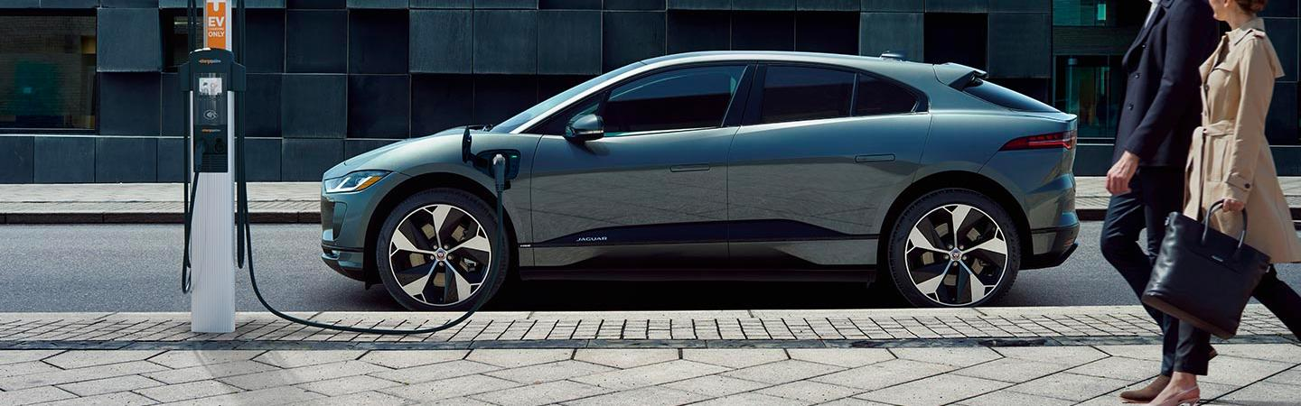 Side view of the 2020 Jaguar I-Pace parked charging