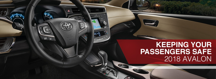 Safety features and interior of the 2018 Avalon - available at Toyota of Rock Hill