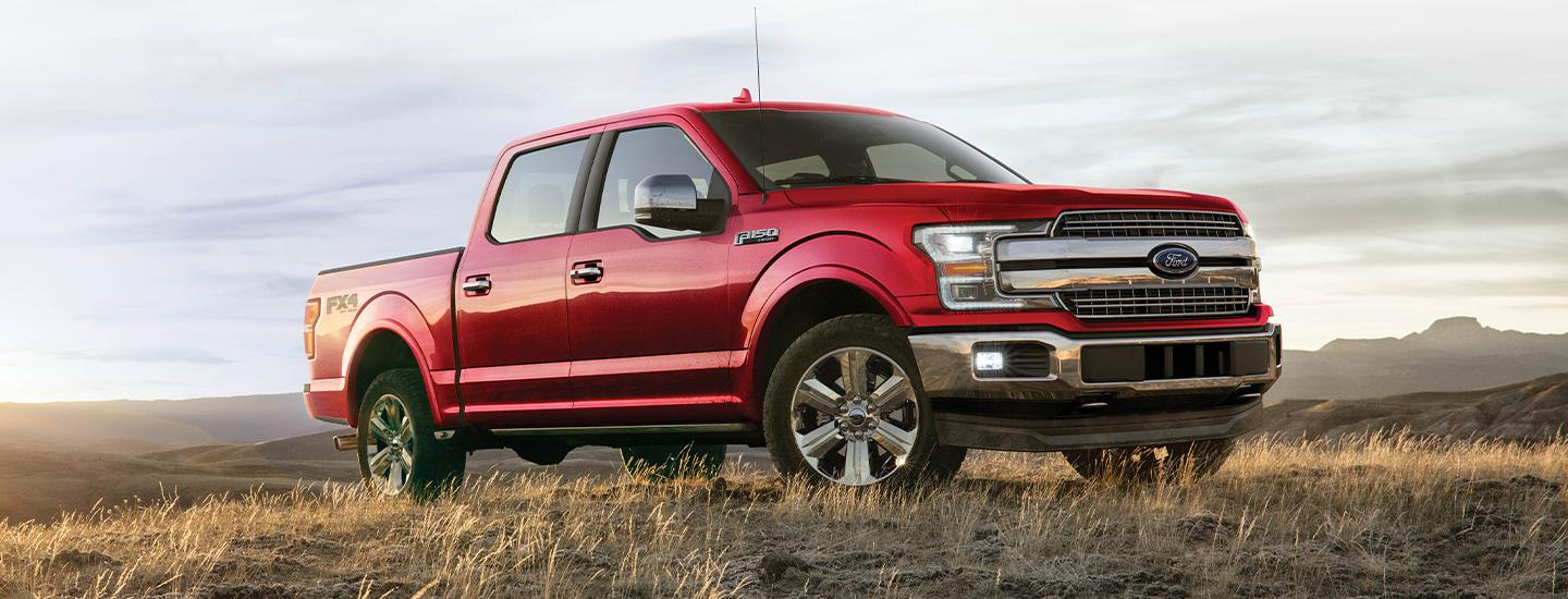 Side view of the 2020 Ford F-150 driving up hill