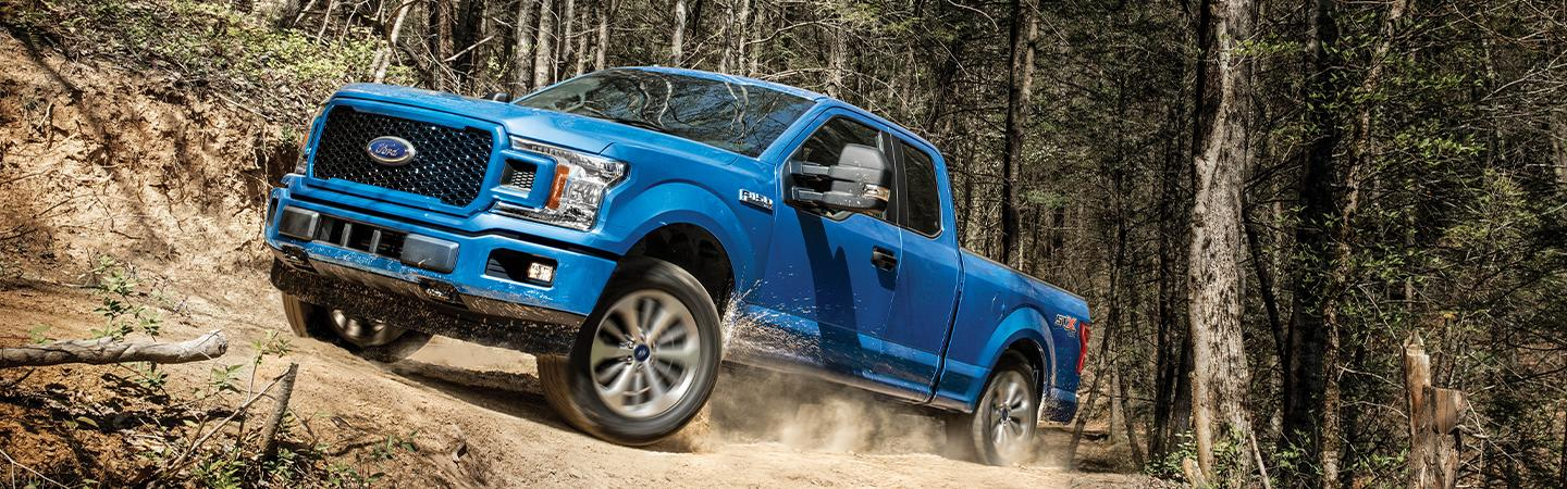 Front view of the 2020 Ford F-150 trekking uphill