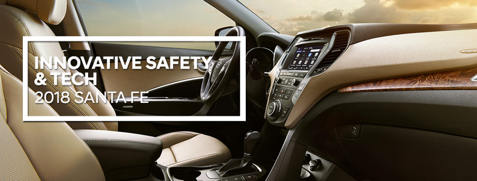 Safety features and interior of the 2018 Hyundai Santa Fe - available at Lithia Hyundai of Reno in Reno, NV near Carson City, NV.