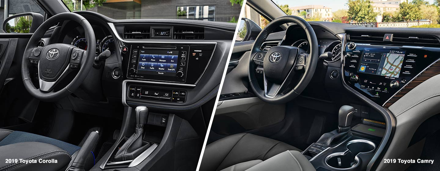 Safety Features & interior of the 2019 Toyota Corolla Vs 2019 Toyota Camry at Toyota of Rock Hill in Rock Hill, SC.