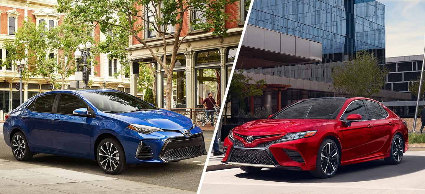 Compare the 2019 Toyota Camry and the 2019 Toyota Corolla at Toyota of Rock Hill in Rock Hill, SC.