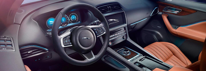 Front view of a 2020 Jaguar's interior