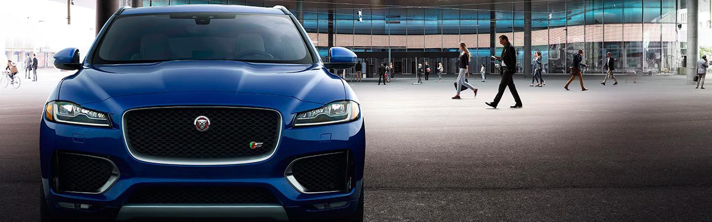 Close up of the front of a blue 2020 Jaguar F-Pace