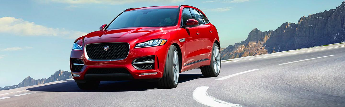 Front view of a red 2020 Jaguar F-Pace