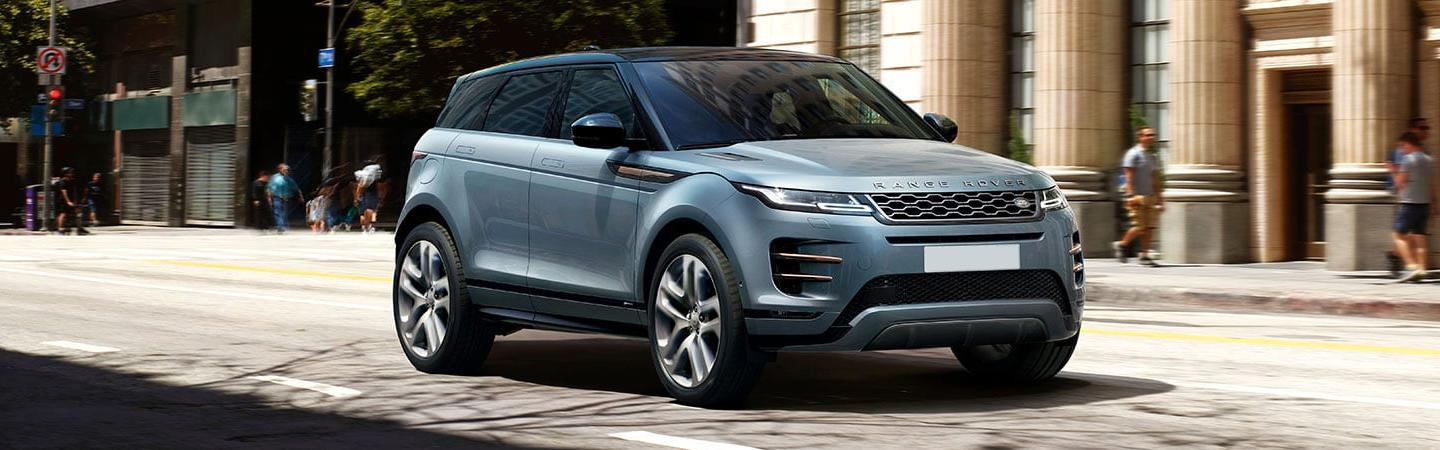 Front view of a 2020 Land Rover Range Rover Evoque parked
