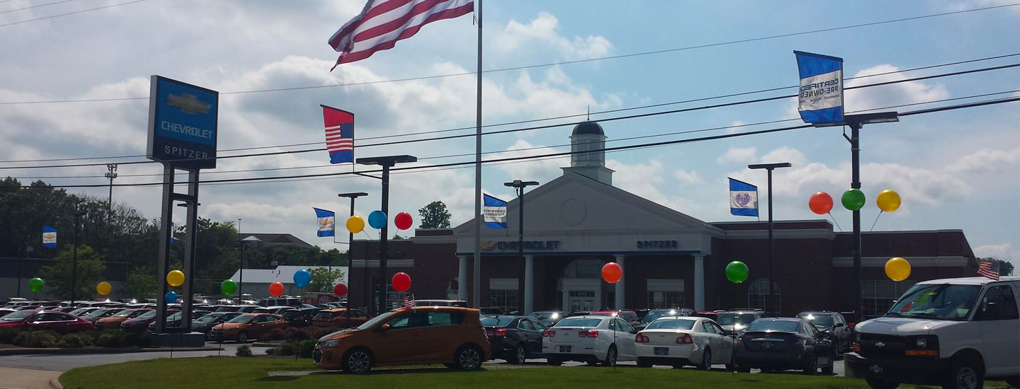 Picture of new Chevy car inventory at Spitzer Chevy Dealership In North Canton Ohio