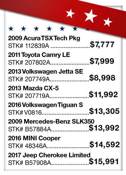 Vehicle Price Sheet 1