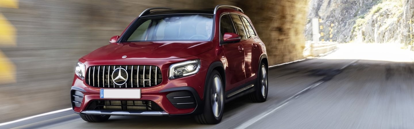 Red 2020 Mercedes-Benz GLB in motion