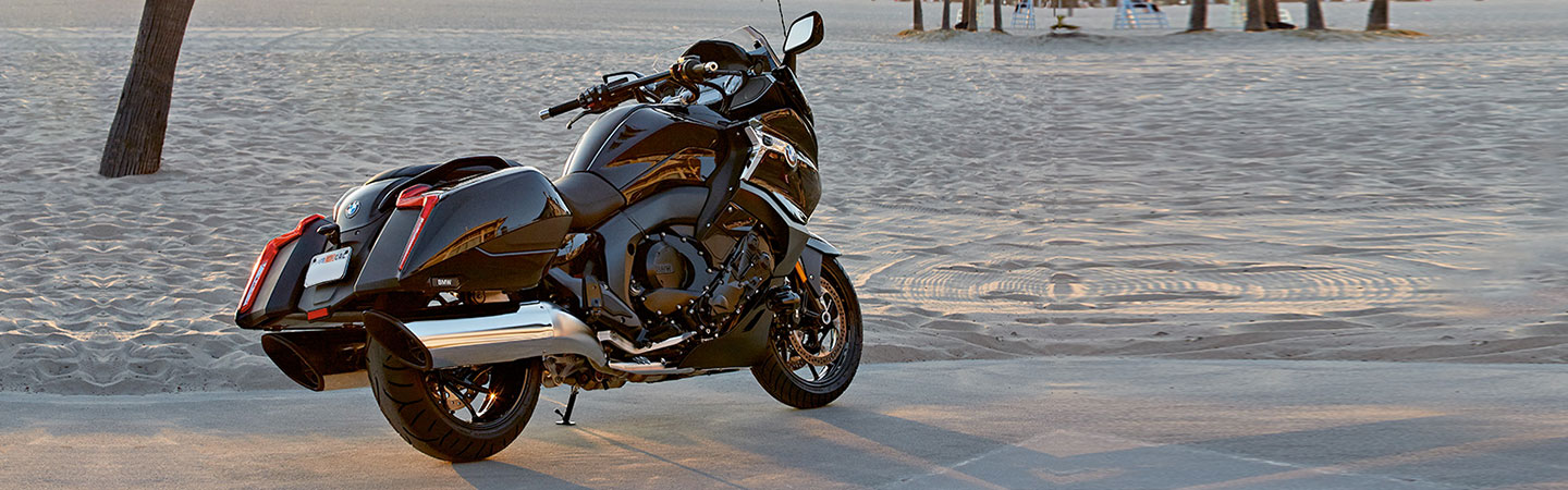 The BMW K 1600 B parked with a rider on it