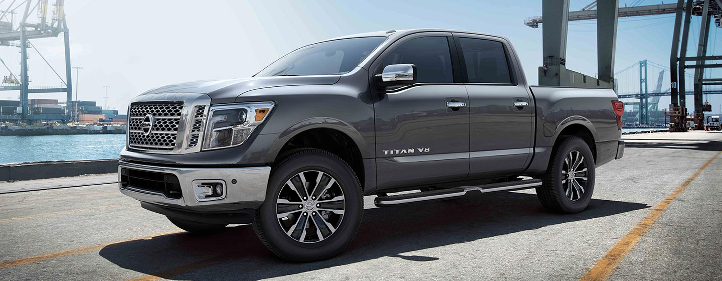 2019 Nissan Titan driver side view park at the dock.