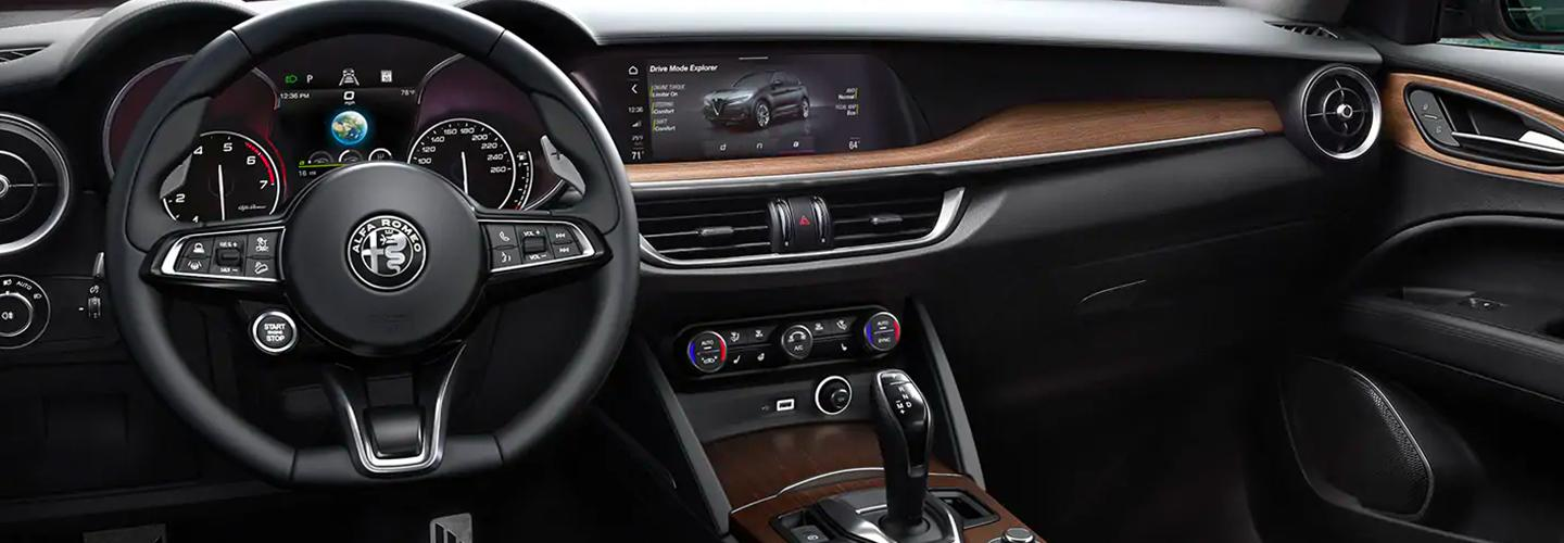 The 2021 Stelvio steering wheel and infotainment system