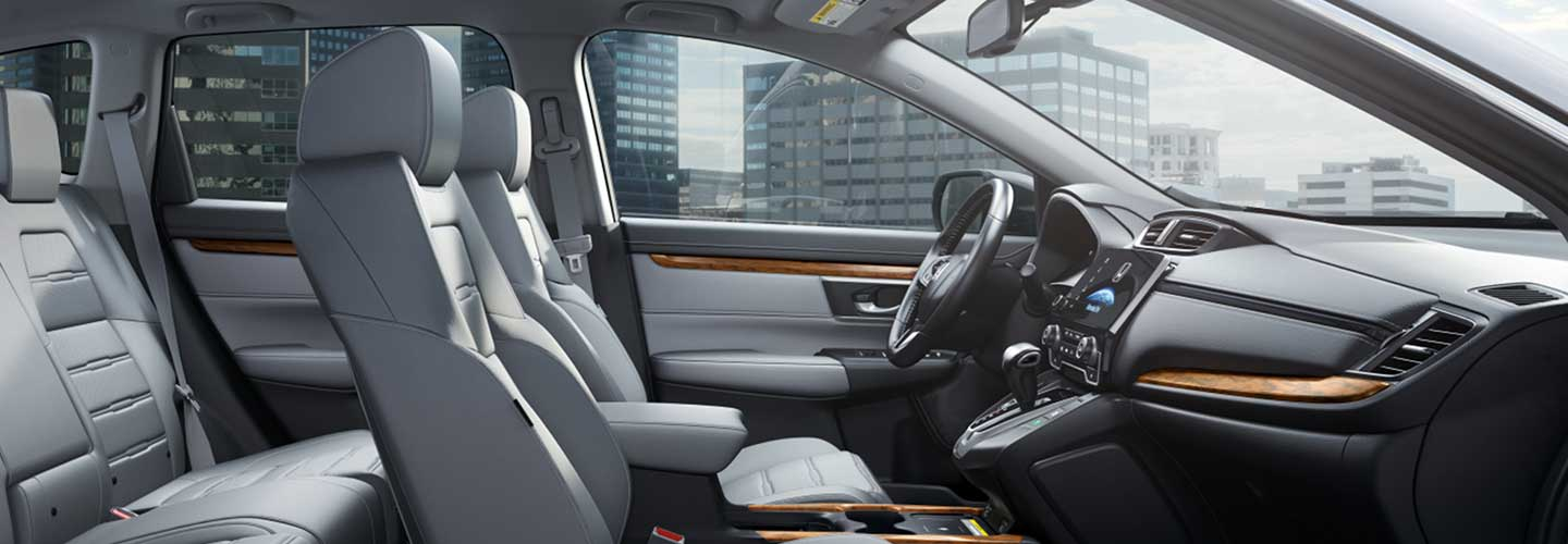 View of the Gray Leather interior in the 2021 CR-V