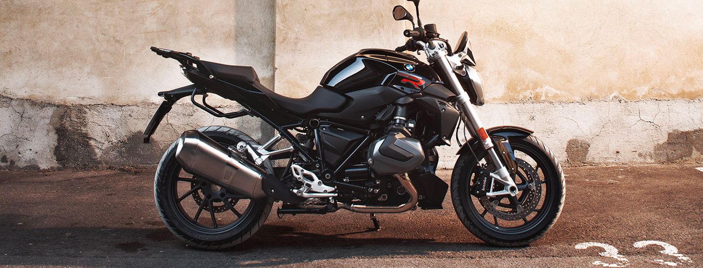 Side view of the 2020 BMW R 1250 R parked outside