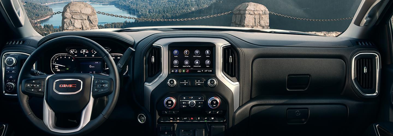 interior of 2021 GMC Sierra 1500 dashboard area
