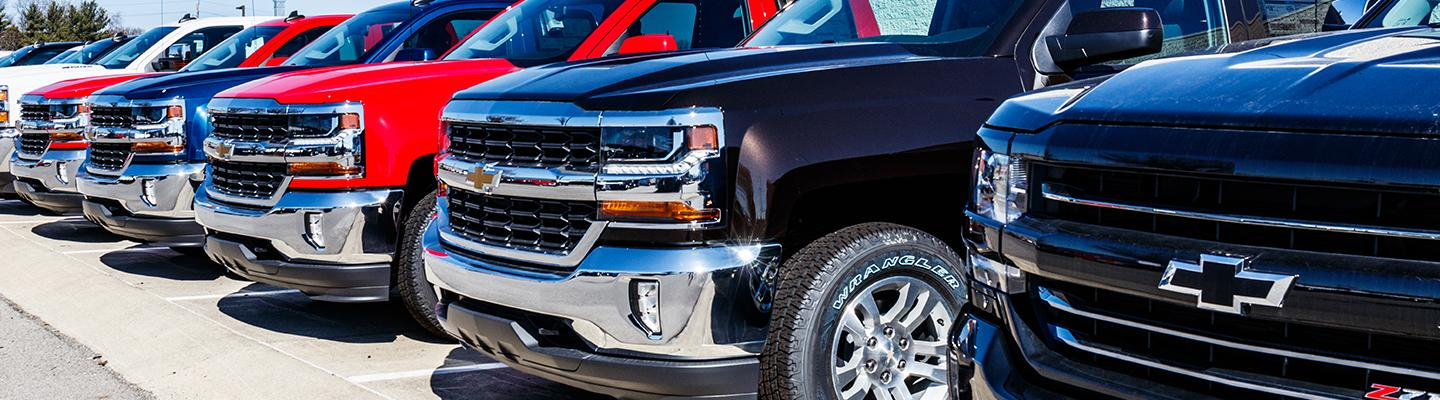 Angled profile of a Chevy truck lineup