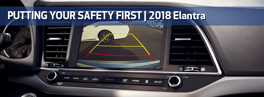 Safety features and interior of the 2018 Hyundai Elantra - available at Baytown Hyundai near Pasadena and Houston, TX