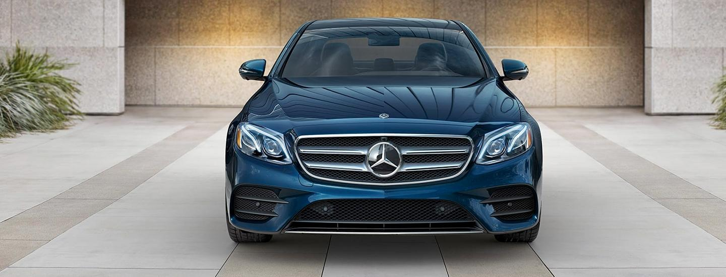 Front view of a blue 2020 E-Class