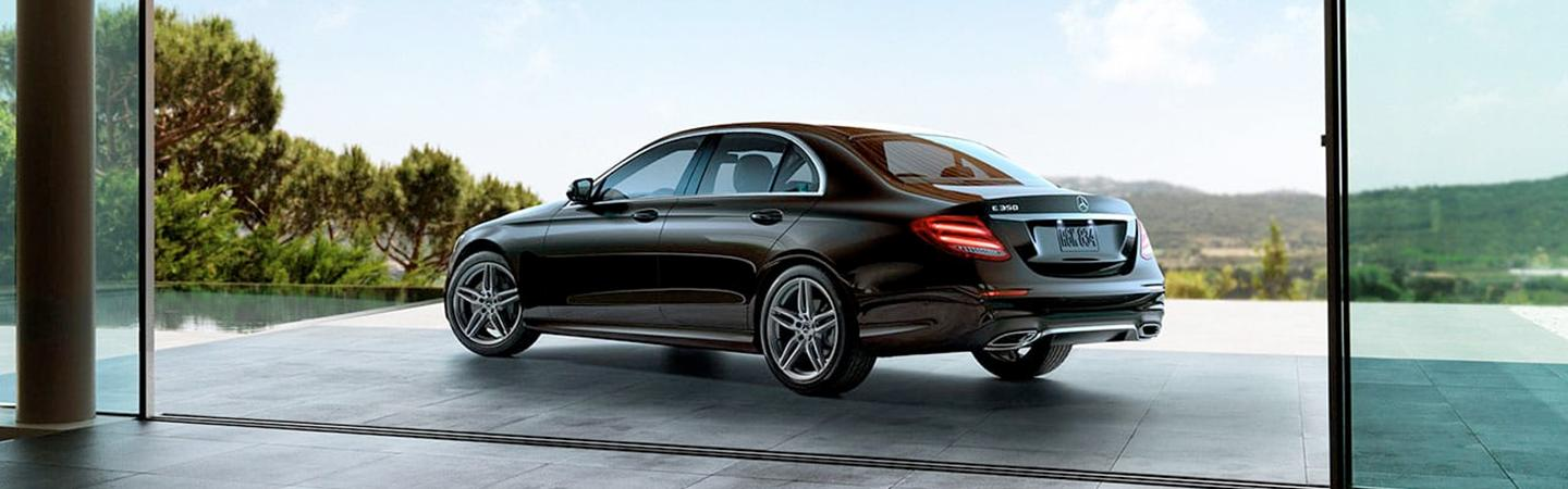 Rear driver side view of the 2020 E-Class