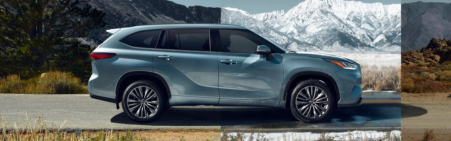 Side view of the 2020 Toyota Highlander driving