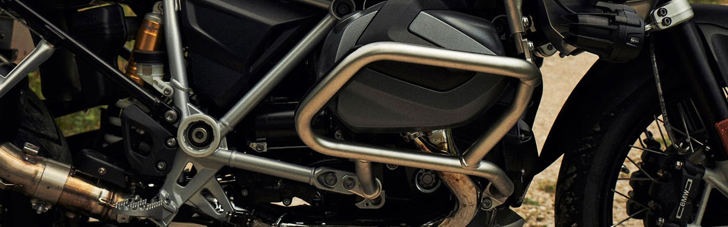 Close up of the frame of the 2020 BMW R 1250 GS