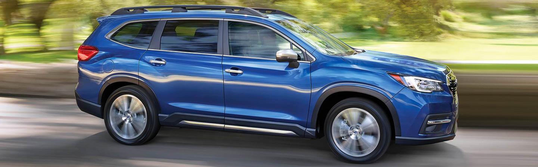 Blue 2020 Subaru Ascent in motion