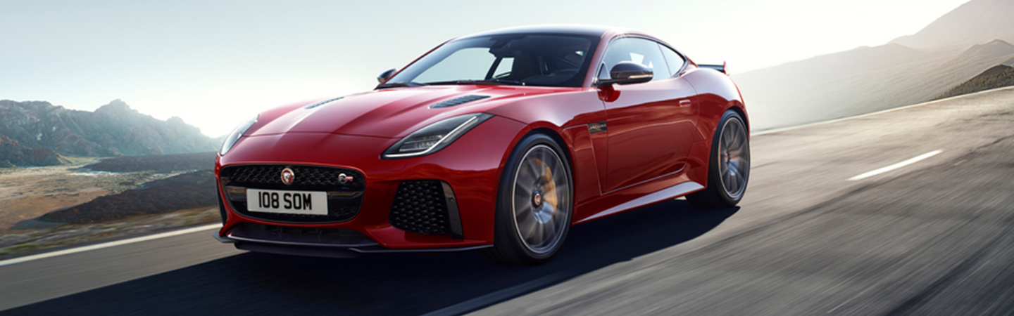 Side profile of the 2020 Jaguar F-Type in motion in Ocala, FL