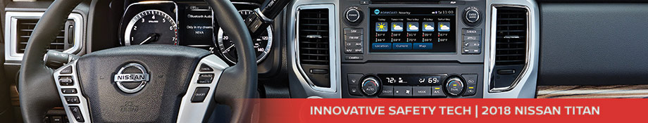 Safety features and interior of the 2018 Nissan Titan - available at Neil Huffman Nissan near Lexington and Georgetown