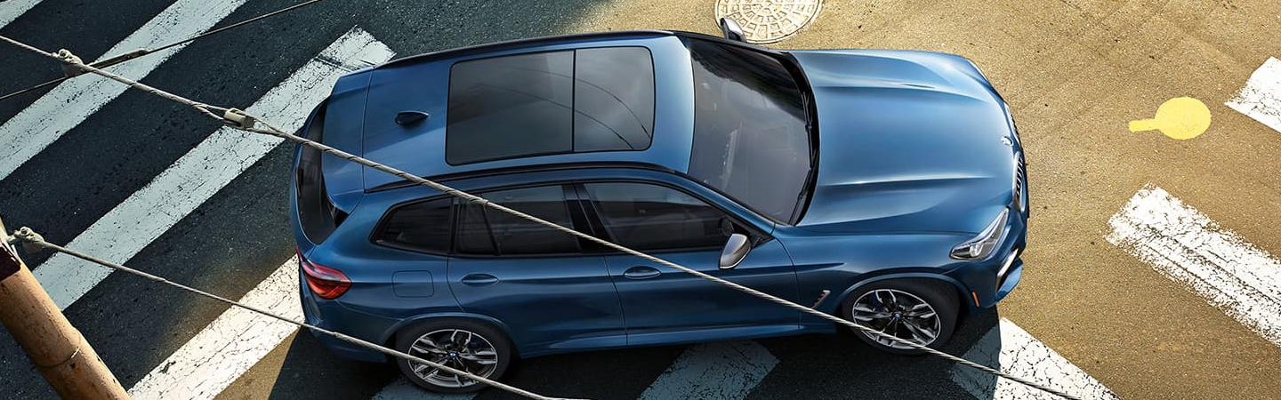 Aerial View of blue 2021 BMW X3