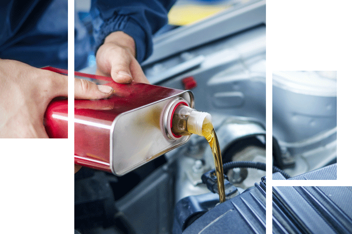 A technician changing a vehicle's oil